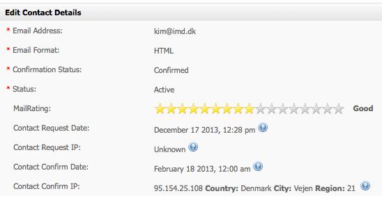mailrating eMailPlatform Edit Contact Details