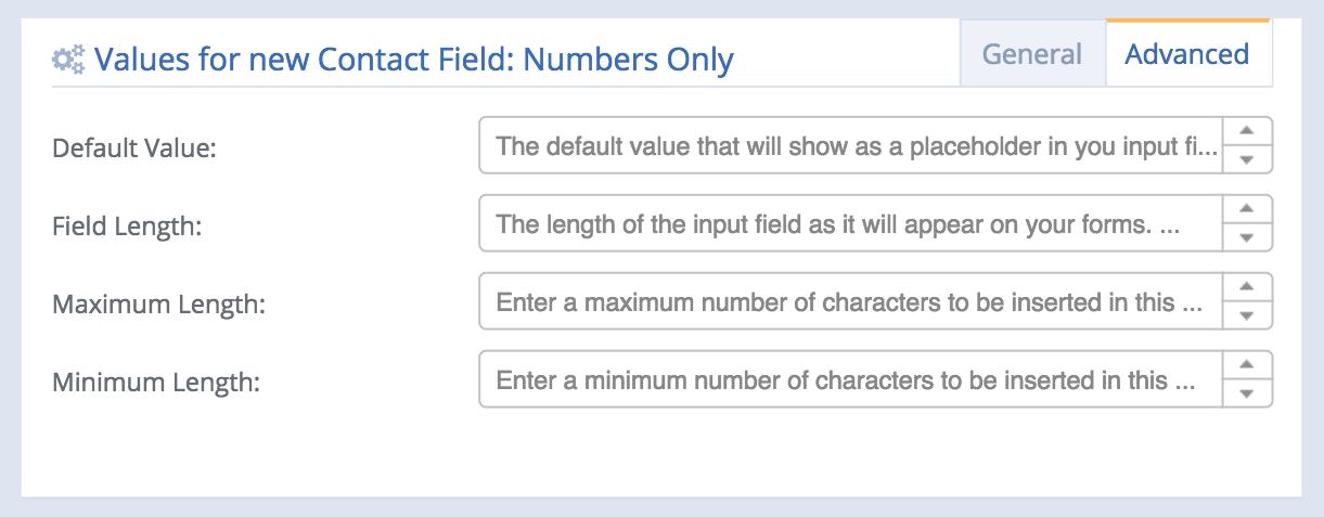 Nummerfelt - advanced settings